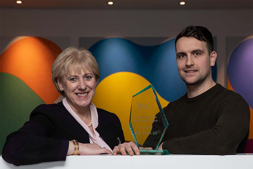 Lead Entrepreneur Award Winner Daniel Nugent with Minister Heather Humphreys