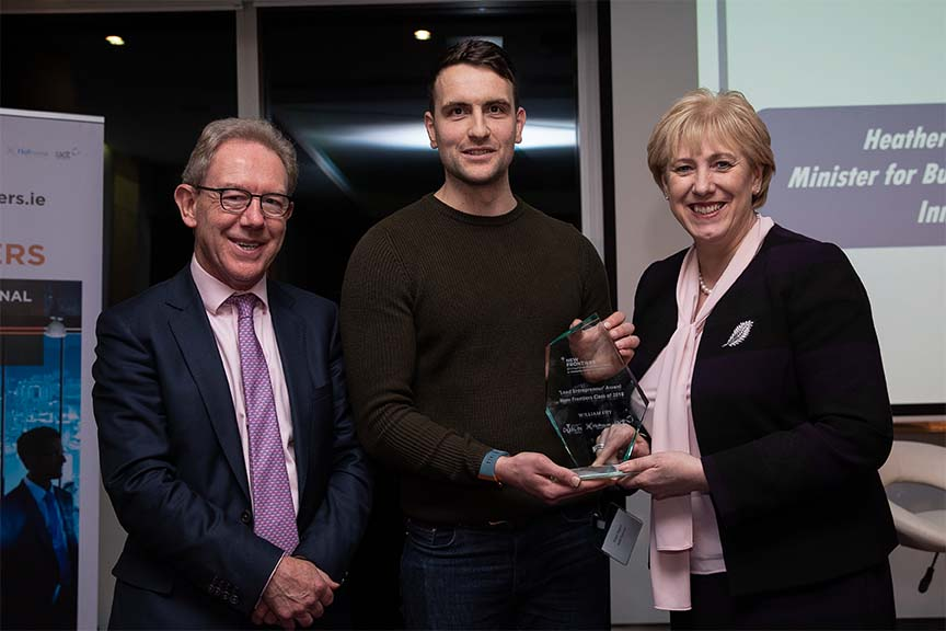 NF Showcase Lead Entrepreneur award Daniel Nugent, John Larkin of William Fry and Minister Humphreys