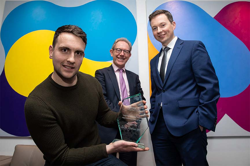 New Frontiers Showcase Winner Daniel Nugent with Leo Moore and John Larkin from William Fry_